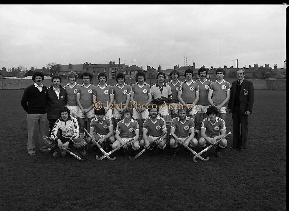 """Ireland Hockey Team.    (N65)..1981..15.03.1981..03.15.1981..15th March 1981..Prior to their forthcoming International against Poland, The Ireland team were kitted out in a full set of Addidas Gear by the """"Great Outdoors""""camping shops.""""Great Outdoors"""" have outlets in Dublin, Cork and Galway...Picture shows the Ireland team about to tour Malasia..Joey O'Meara,team coach; D Balbernie, team manager; T Allen,A Carson, C Allister, M Burns, J Cole (Captain), N Crawford, E Cummins, P Hardy, R Haughton, J Kirkwood, W McConnell, J McKee, S Martin, A O'Driscoll, I O'Keeffe, D Richardson and also pictured on the far right is Mr. F.A. Glasby, President of the Irish Hockey Union. .."""
