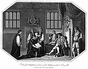 Henry VIII (1491-1547) king of England from 1509 being presented with the first authorised edition of 'The Bible' in English, Cranmer's Bible, 1540.  Copperplate engraving 1824