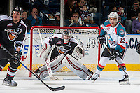 KELOWNA, CANADA - FEBRUARY 10: Ryan Kubic #20 of the Vancouver Giants defends the net against the Kelowna Rockets on February 10, 2017 at Prospera Place in Kelowna, British Columbia, Canada.  (Photo by Marissa Baecker/Shoot the Breeze)  *** Local Caption ***
