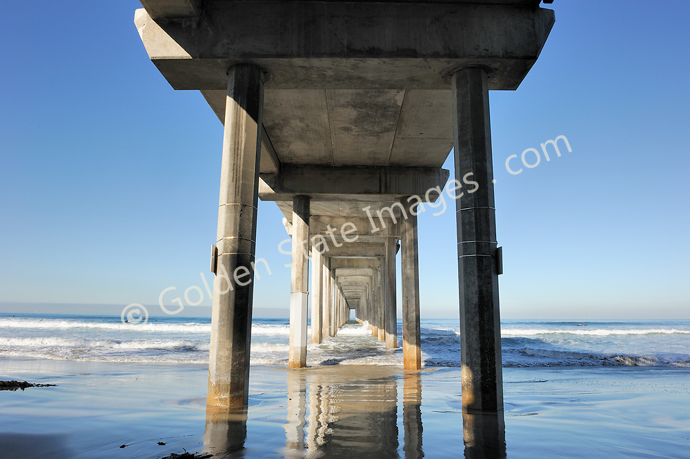 Scripps Pier on the north end of La Jolla Shores Beach, on the campus of University of California, San Diego.  <br /> <br /> The Pier is home base for the UCSD's marine biology research arm, Scripps Institution of Oceanography.