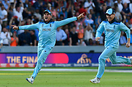 England Are World Champions - Jason Roy of England and Eoin Morgan of England celebrates as Martin Guptill of New Zealand is run out in the super over and England win the World Cup during the ICC Cricket World Cup 2019 Final match between New Zealand and England at Lord's Cricket Ground, St John's Wood, United Kingdom on 14 July 2019.