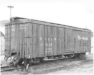 """3/4 view of box car #3019 at Durango.  Coupler on """"B"""" end has been pulled out by accident.<br /> D&RGW  Durango, CO  Taken by McCarter, M. D. - 7/11/1969"""