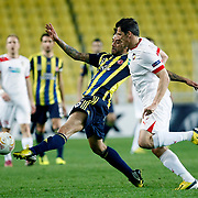 Fenerbahce's Cristian Olivera Baroni (L) during their UEFA Europa League Top 16 soccer match Fenerbahce between Viktora Plzen at Sukru Saracaoglu stadium in Istanbul Turkey on Thursday 14 March 2013. Photo by TURKPIX
