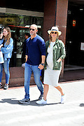 MADRID, SPAIN, 2016, MAY 26 <br /> <br /> Bar Refaeli is one of the most famous models of the moment, which has managed to turn his career into a complete success thanks to their effort and an enviable physique. Pregnant industrialist Adi Ezra, the Israeli top has been removed from the frenetic life that their work entails. Consecrated model with striped dress, green jacket, sunglasses and a hat flattering<br /> ©Exclusivepix Media