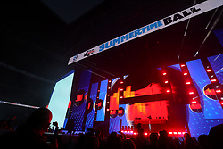Calvin Harris on stage during Capital's Summertime Ball. The world's biggest stars perform live for 80,000 Capital listeners at Wembley Stadium at the UK's biggest summer party.