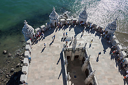 High angle view of Belem Tower at riverbank, River Tagus, Lisbon, Portugal