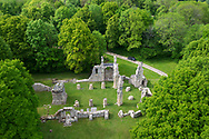 Aerial view of the ruined church at Montfaucon-d'Argonne, seen from atop the Montfaucon American Monument, located in Montfaucon-d'Argonne in Lorraine, France. The monument commemorates the American victory on this location in the Meuse-Argonne Offensive during World War I. The block-like structure on the left is a German observation post.
