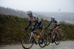 Chantal Blaak leads at Strade Bianche - Elite Women 2018 - a 136 km road race on March 3, 2018, starting and finishing in Siena, Italy. (Photo by Sean Robinson/Velofocus.com)