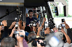 Nov 1, 2016.  Las Vegas NV.  Manny Pacquiao arrives in a mob scene of cameras at the Wynn Hotel Tuesday. Manny Pacquiao will be fighting  Jessy Vargas this Saturday Nov 5 at the Thomas & Mac for the WBO world title..Photo by Gene BlevinsLA DailyNewsZumaPress (Credit Image: © Gene Blevins via ZUMA Wire)