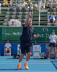 November 5, 2017 - Delray Beach, Florida, US - LUKE JENSEN, Tennis Coach and ambidextrous former.tennis pro, in action on court at the Delray Beach Stadium and Tennis Center in Florida during the 2017 Chris Evert/ Raymond James Pro-Celebrity Tennis Classic. Chris Evert Charities has raised more than $23 million in an ongoing campaign for Florida's most at-risk children. (Credit Image: © Arnold Drapkin via ZUMA Wire)