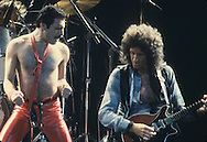 LOS ANGELES, CA - FEBRUARY 14: Freddie Mercury and Brian May of Queen in concert at The Forum on February 14, 1980 in Los Angeles, California.