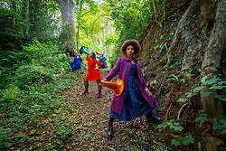 Artist Lorna Rees rehearsing in the ancient Shute's Lane Holloway at Symondsbury Estate near Bridport for Geophonic, an outdoor performance celebrating the natural cycles of the rock beneath our feet, ahead of its world premiere at Inside Out Dorset, a festival of free outdoor art in locations across the county, opening today [Friday 17 September]<br /> At Symondsbury Estate, Dorset, Great Britain <br /> 16th September 2021 <br />  <br /> Lorna Rees <br /> Onioluwa Taiwo<br /> Julia Abbiss <br /> Nina Agathou <br /> <br /> <br /> Photograph by Elliott Franks