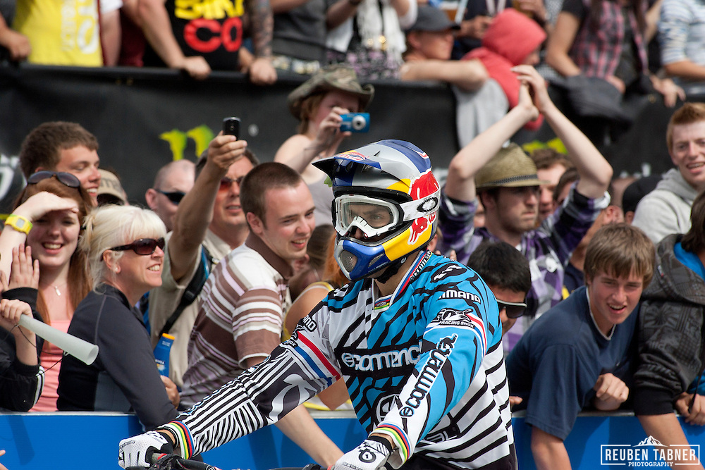 The crowd goes wild as Gee Atherton (Great Britain) of team Commencal takes 1st place in the men's Downhil at The UCI Mountain Bike World Cup in Fort William, Scotland.