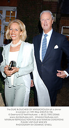 The DUKE & DUCHESS OF MARLBOROUGH at a dinner in London on 19th May 2003.PJS 186
