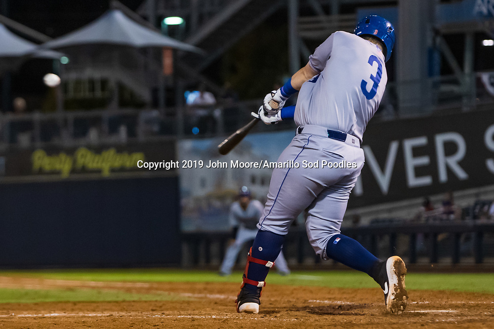 Amarillo Sod Poodles infielder Kyle Overstreet (3) hits the ball against the Tulsa Drillers during the Texas League Championship on Friday, Sept. 13, 2019, at OneOK Field in Tulsa, Oklahoma. [Photo by John Moore/Amarillo Sod Poodles]