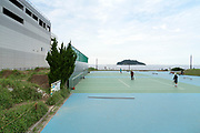 tennis area at Umikaze park Yokosuka with Tokyo bay and Sarushima Island