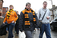 Wolverhampton Wanderers fans arrive at Boleyn Ground before k/o. The Emirates FA cup, 3rd round match, West Ham Utd v Wolverhampton Wanderers at the Boleyn Ground, Upton Park  in London on Saturday 9th January 2016.<br /> pic by John Patrick Fletcher, Andrew Orchard sports photography.