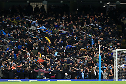 17th October 2017 - UEFA Champions League - Group F - Manchester City v Napoli - Man City fans perform the 'Poznan' dance, with their backs to the pitch - Photo: Simon Stacpoole / Offside.