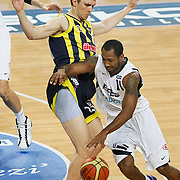 Efes Pilsen's Bootsy THORNTON (R) and Fenerbahce's Marko TOMAS (L) during their Turkish Basketball Legague Play-Off semi final second match Efes Pilsen between Fenerbahce at the Sinan Erdem Arena in Istanbul Turkey on Friday 27 May 2011. Photo by TURKPIX
