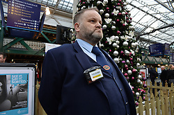 Pictured: station Staff Neil Gaiters with one of the new cameras.<br /> <br /> Scotrail unveils new £300,000 GBP personal cctv cameras for their front-line staff to wear. This is in response to increased assaults on staff members across the network, and will see over 350 camera equipped staff across Scotland.<br /> <br /> (c) Dave Johnston / Eem