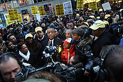 l to r: Hazel Dukes, Ben Jealous, CEO, NAACP,  Rev. Al Sharpton,and Spike Lee at Day 2 of New York Post Protest by Rev. Al Sharpton and The National Network against offensive cartoon depicting dead Chimpanzee as President Obama.