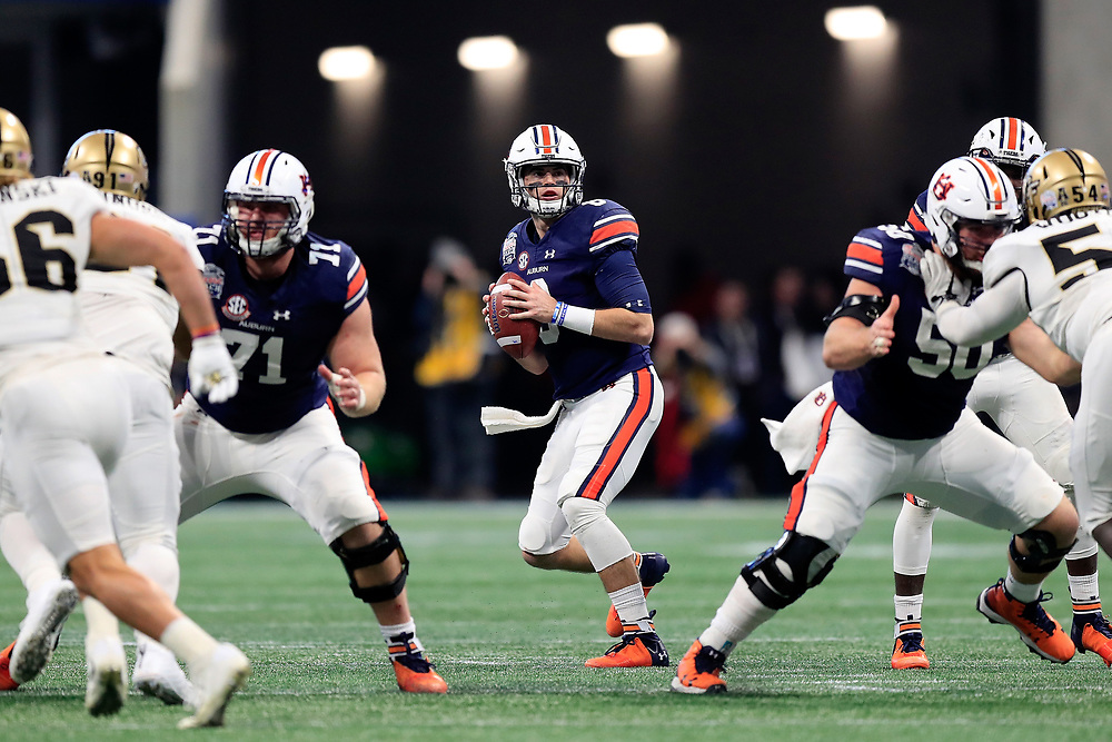 Auburn Tigers quarterback Jarrett Stidham (8) during the 2018 Chick-fil-A Peach Bowl NCAA football game against the UCF Knights on Monday, January 1, 2018 in Atlanta. (Paul Abell / Abell Images for the Chick-fil-A Peach Bowl)