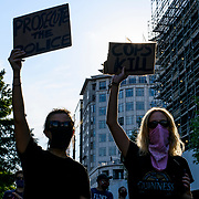 Black Lives Matter protesters gather in lafayette park to defy the curfew and protest the killing of George Floyd in Minneapolis.
