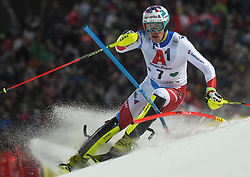 """29.01.2019, Planai, Schladming, AUT, FIS Weltcup Ski Alpin, Slalom, Herren, 1. Lauf, im Bild Daniel Yule (SUI) // Daniel Yule of Switzerland in action during his 1st run of men's Slalom """"the Nightrace"""" of FIS ski alpine world cup at the Planai in Schladming, Austria on 2019/01/29. EXPA Pictures © 2019, PhotoCredit: EXPA/ Erich Spiess"""