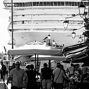 A huge cruise ship sails on the Saint Mark's Basin on the day Sir Michael Caine and Julie Christie join celebrities calling for Venice cruise ship ban <br />