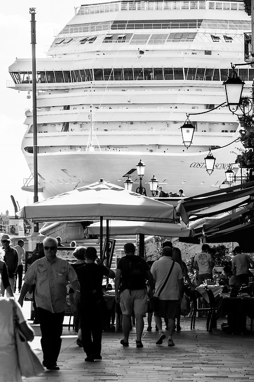 A huge cruise ship sails on the Saint Mark's Basin on the day Sir Michael Caine and Julie Christie join celebrities calling for Venice cruise ship ban <br /> <br /> HOW TO LICENCE THIS PICTURE: please contact us via e-mail at sales@xianpix.com or call our office in London +44 (0)207 1939846 for prices and terms of copyright. First Use Only ,Editorial Use Only, All repros payable, No Archiving.© MARCO SECCHI