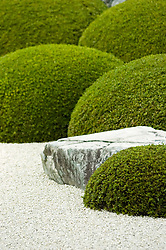 Rocks, shrubs and gravel in dry zen garden at Adachi Art Museum in Japan