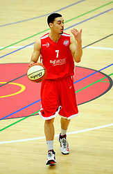 Bristol Academy Flyers' Roy Owen initiates an attack  - Photo mandatory by-line: Dougie Allward/JMP - Tel: Mobile: 07966 386802 23/03/2013 - SPORT - Basketball - WISE Basketball Arena - SGS College - Bristol -  Bristol Academy Flyers V Essex Leopards