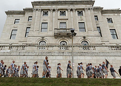 CVS Health Downtown 5k, USA 5k road championship, Providence Police Department march past state capitol after race