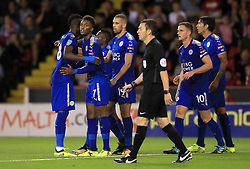 Leicester City's Demarai Gray celebrates scoring his side's first goal of the game with team mates during the Carabao Cup, Second Round match at Bramall Lane, Sheffield.