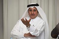 08 APR 2013, DOHA/QATAR<br /> Khalifa bin Jassim bin Muhammed bin Jassim bin Muhammed Al Thani, Chairman Qatar Chamber of Commerce & Industry, waehrend einem Gespraech mit Journalisten, W Hotel<br /> IMAGE: 20130408-01-032<br /> KEYWORDS: Katar