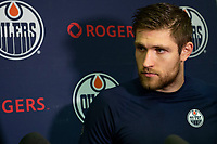 KELOWNA, BC - SEPTEMBER 23:  Leon Draisaitl #29 of the Edmonton Oilers speaks to media after practice at Prospera Place on September 23, 2019 in Kelowna, Canada. (Photo by Marissa Baecker/Shoot the Breeze)