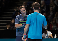 Tennis - 2017 Nitto ATP Finals at The O2 - Day Seven<br /> <br /> Mens Doubles: Semi Final 2 : Jamie Murray (Great Britain) & Bruno Soares (Brazil) Vs Henri Kontinen (Finland) & John Peers (Australia) <br /> <br /> John Peers (Australia) and Henri Kontinen (Finland) celebrate taking the first set at the O2 Arena<br /> <br /> COLORSPORT/DANIEL BEARHAM