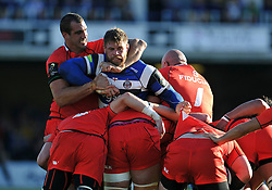 Dave Attwood of Bath Rugby is grabbed in a headlock by Yoann Maestri of Toulouse - Photo mandatory by-line: Patrick Khachfe/JMP - Mobile: 07966 386802 25/10/2014 - SPORT - RUGBY UNION - Bath - The Recreation Ground - Bath Rugby v Toulouse - European Rugby Champions Cup
