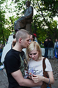 Moscow, Russia, 15/05/2012..Protesters kiss in Chistiye Prudy, or Clean Ponds, as a Moscow court ordered the eviction of some 200 opposition activists who have set up camp in the city centre park.