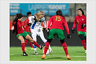 Linda Sällström dribbling to score the 93rd minute 1-0 goal which led Finland to the Euro 2022 tournament. Helsinki, February 19, 2021.