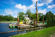 Henley-On-Thames, Berkshire, UK., Saturday, 12/06/2021,  2021 Regatta Course Construction, Laying the course, Piles and Booms, Piling, Temple Island, [Mandatory Credit © Peter Spurrier/Intersport Images],