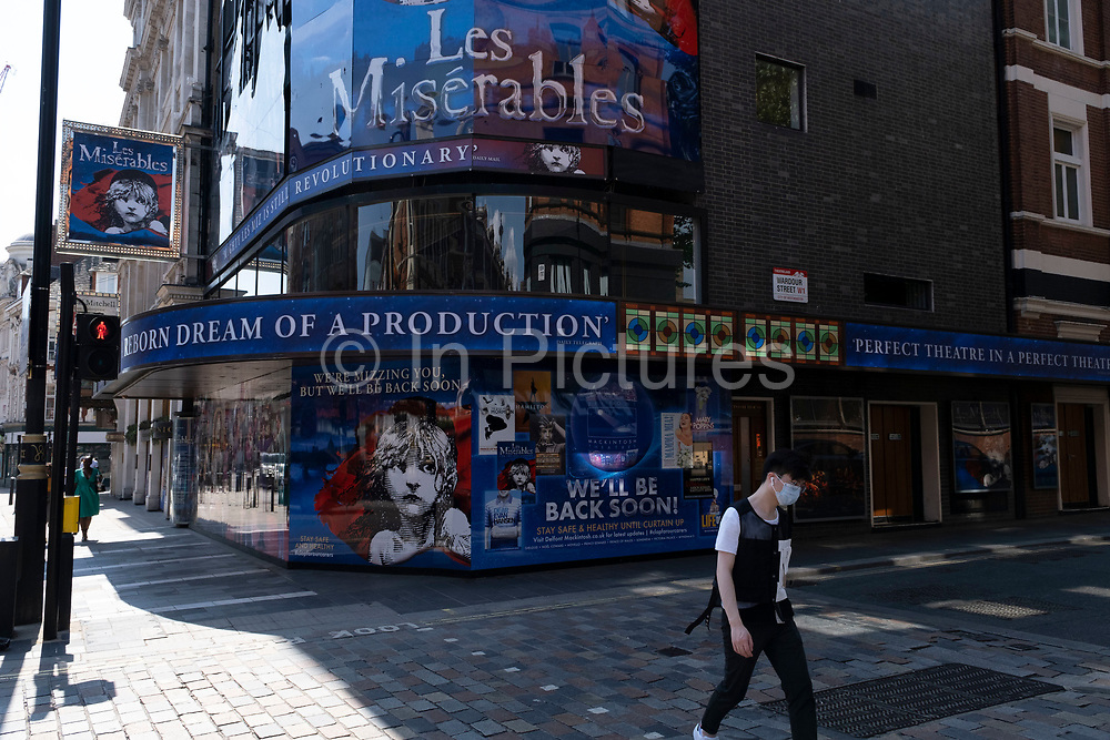 West End theatres ramain closed, with musicals and other theatre shows, like the incredibly popular Les Miserables at the Sondheim Theatre, on hold under coronavirus lockdown on 26th June 2020 in London, England, United Kingdom. Theatreland has taken a big hit as social distancing has not allowed audiences to return and so doors and box offices are shut. As the July deadline approaces and government will relax its lockdown rules further, the West End remains quiet, while some non-essential shops are allowed to open with individual shops setting up social distancing systems.