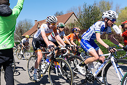 Anna van der Breggen speeds through the feedzone - Flèche Wallonne Femmes - a 137km road race from starting and finishing in Huy on April 20, 2016 in Liege, Belgium.