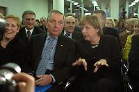 """12 JAN 2004, BERLIN/GERMANY:<br /> Klaus Toepfer (L), CDU, Exekutivdirektor des Umweltprogramms der Vereinten Nationen, UNEP, und Bundesumweltminister a.D., und Angela Merkel (R), CDU Bundesvorsitzende, vor Beginn einer Diskussionsveranstaltung der CDU aus der Reihe """"Berliner Gespraeche"""" zum Thema """"Nach uns die Sintflut - Wohlstand auf Kosten der Zukunft?"""", Konrad-Adenauer-Haus<br /> IMAGE: 20040112-03-003<br /> KEYWORDS: Klaus Töpfer"""