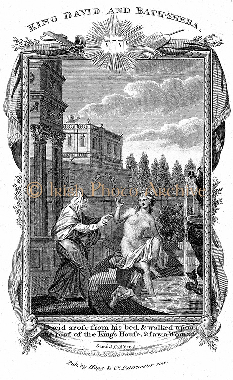 King David looking down from the roof of his palace sees Bathsheba, wife of Uriah the Hittite, naked at the fountain, and desires her. 'Bible' Samuel 2.2. Copperplate engraving c1804.