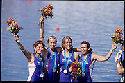 Sydney, AUSTRALIA, GBR W4X Silver Medalist, bow, Guin BATTEN,  Gillian LINDSAY, Katherine GRAINGER and Miriam BATTEN. 2000 Olympic Regatta, West Lakes Penrith. NSW.  [Mandatory Credit. Peter Spurrier/Intersport Images] Sydney International Regatta Centre (SIRC) 2000 Olympic Rowing Regatta00085138.tif