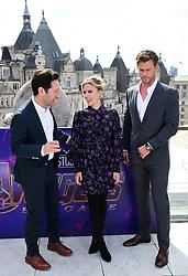 Paul Rudd, Scarlett Johansson and Chris Hemsworth attending a photocall for Avengers: Endgame, at the Corinthia in London.