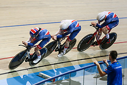 March 1, 2018 - Apeldoorn, Netherlands - Edward Clancy, Ethan Hayter and Charlie Tanfield of Britain competes in the Men's team pursuit during UCI Track Cycling World Championships Apeldoorn 2018  in Apeldoorn, the Netherlands on 1st March 2018. The track cycling worlds take place from 28 February to 04 March. (Credit Image: © Foto Olimpik/NurPhoto via ZUMA Press)