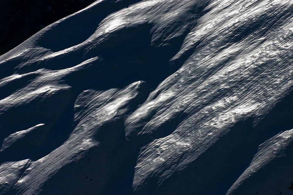 Snow covered slope on Snowking Mountain, Glacier Peak Wilderness, Washington.
