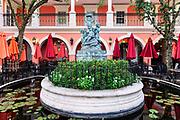 Fountain courtyard at Jane's Cafe, Naples, Florida, USA.